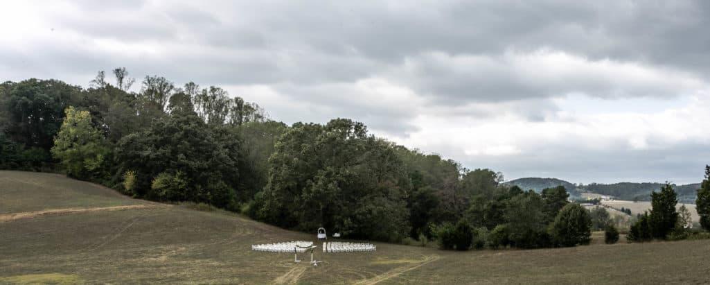 large oak tree meadow setup for 300