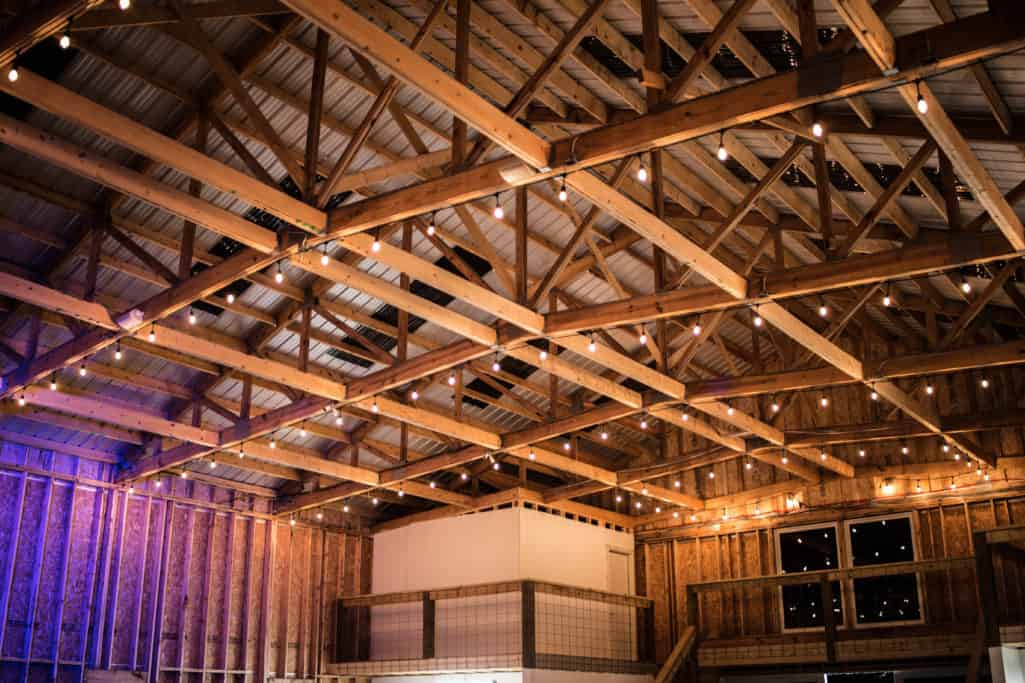 String Lights in Big White Barn