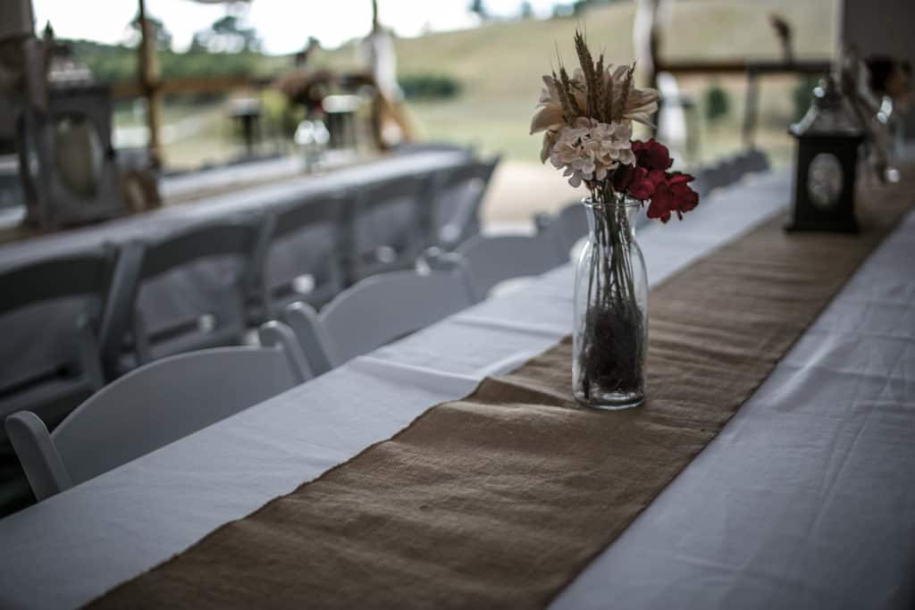 White linens and burlap are included in your rental.